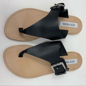Steve Madden Black Leather Clara Sandal Size 7